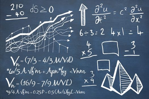 Composite image of mathematical equations with graph and diagrams
