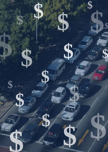 Motorway and cars with Dollar currency icons