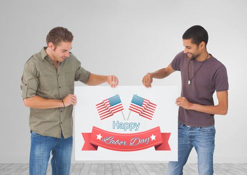 Men holding a Labor Day card