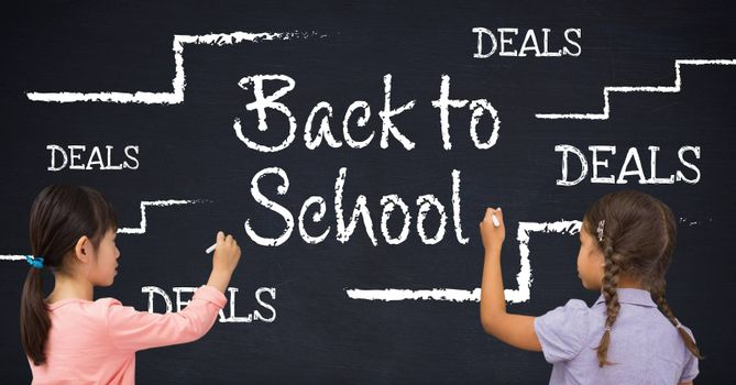 Digital composite of Girls writing Back to school deals with education drawings on blackboard with chalk