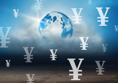 World with Yen currency icons