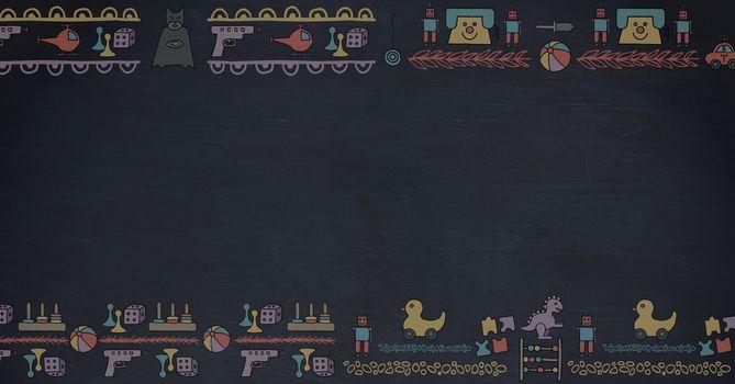 Toy graphics on blackboard