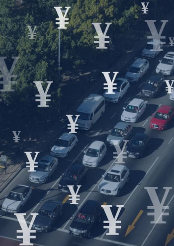 Motorway and cars with Yen currency icons