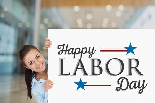 Woman holding a Labor Day card