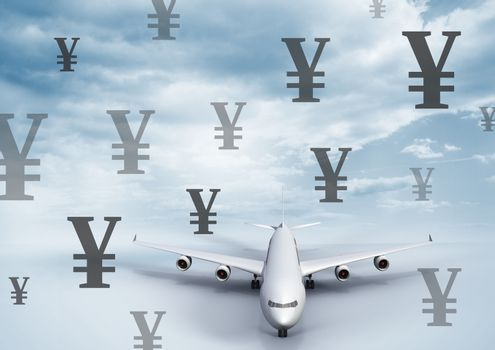 Plane with Yen currency icons