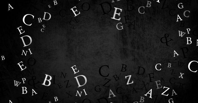 many letters on blackboard