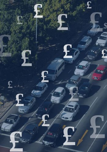 Motorway and cars with Pound currency icons