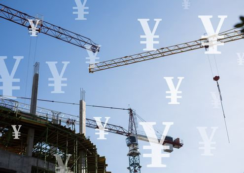 Construction cranes with Yen currency icons
