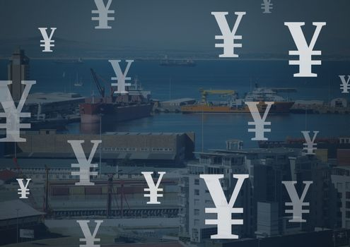 Dock port with Yen currency icons