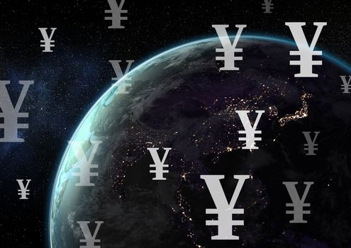 Planet earth with Yen currency icons