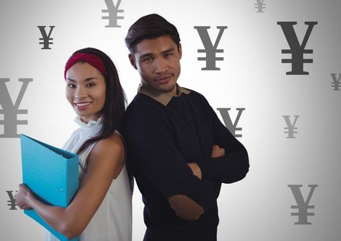 Students with Yen currency icons
