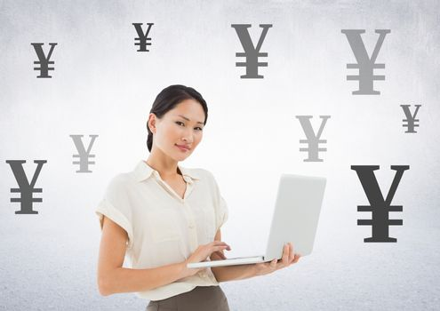 Woman on laptop with Yen currency icons