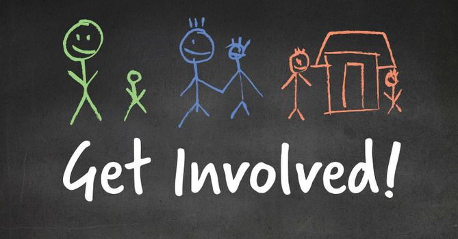 Get involved text with stick people drawings on blackboard