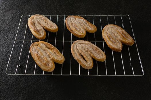 Fresh baked cookies on baking tray