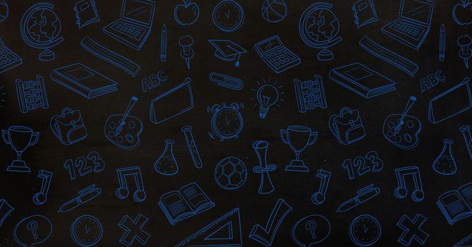 Digital composite of Education drawings icons on blackboard