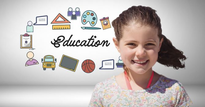 Digital composite of Girl in front of education graphics