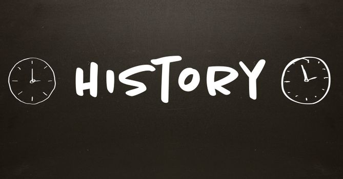History text with time clocks on blackboard