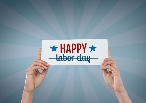 Hands holding a Labor Day card