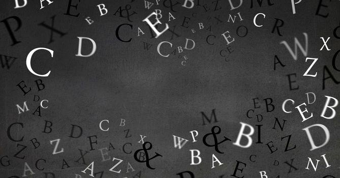 Floating letters on blackboard