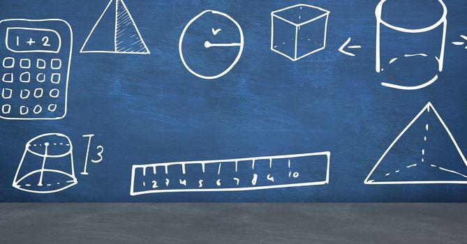 Digital composite of Education geometry drawings on blackboard