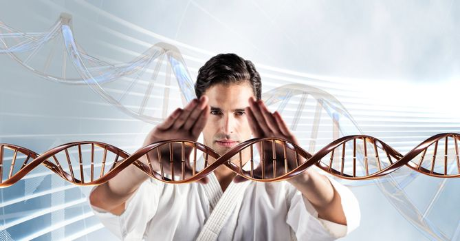 Man doing martial arts with 3D DNA strand
