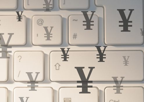 Keyboard with Yen currency icons