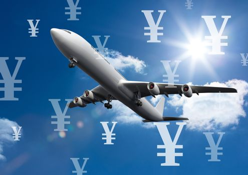 Plane in sky with Yen currency icons