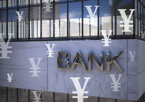 Bank with Yen currency icons