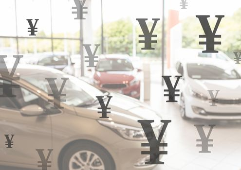 Cars with Yen currency icons