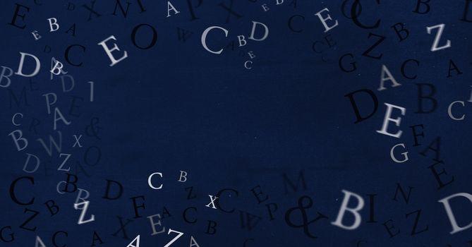Letters floating on blackboard