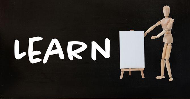 Learn text with teacher on blackboard