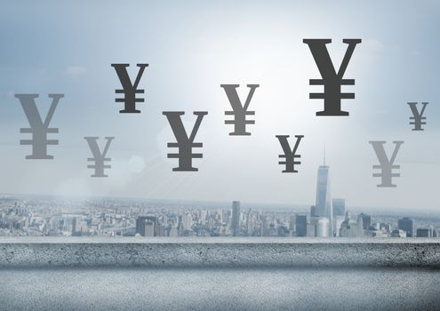 City with Yen currency icons