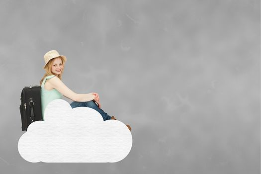 Traveller woman sitting on a cloud