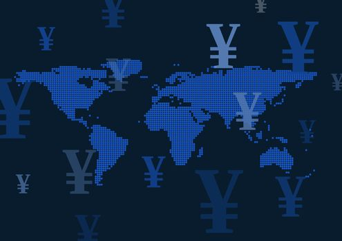 World map with Yen currency icons