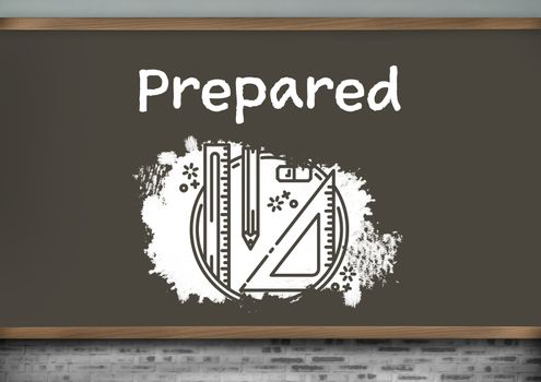 Prepared text and stationery graphics on blackboard