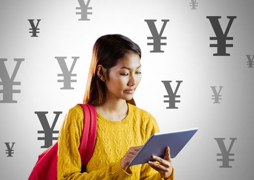 Student on tablet with Yen currency icons