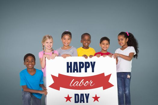 Kids holding a Labor Day card