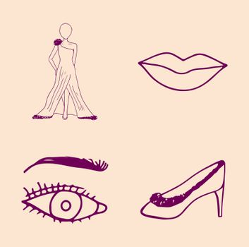Vector set of fashion icons against yellow background