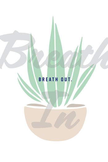 Greeting card with plant and breath out text