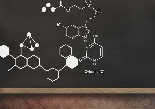 science graphics on blackboard