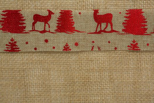 Close up of embroidered burlap