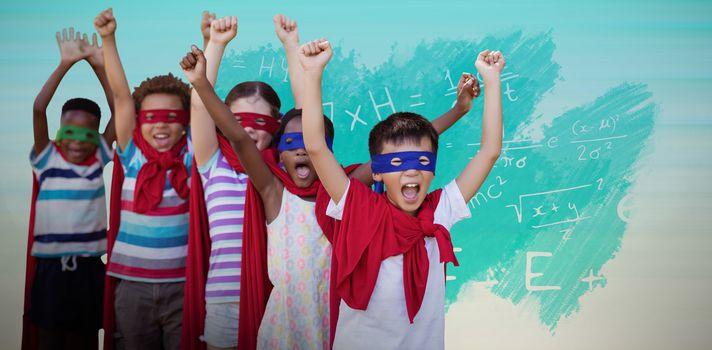 Composite image of children in superhero costumes