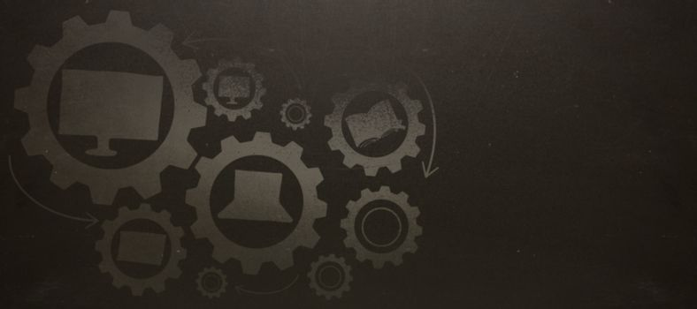 Composite image of education icons on gears against blackboard