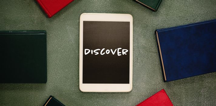 Composite image of discover text on white background