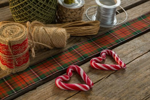 Thread spools with candy cane