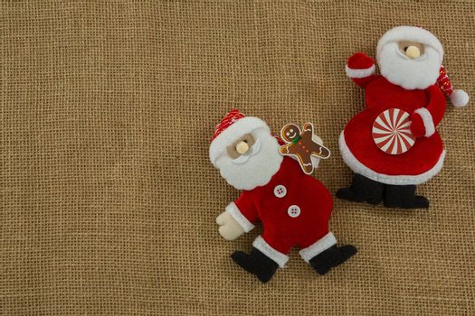 Stuffed Santa Claus on burlap