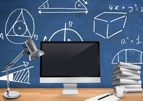 Computer Desk foreground with blackboard graphics of mathematical diagrams