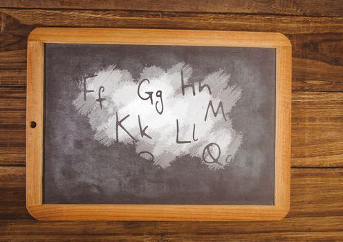 letters on blackboard