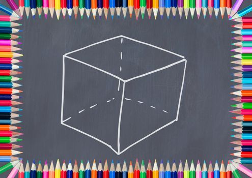 cube on blackboard with coloring pencils