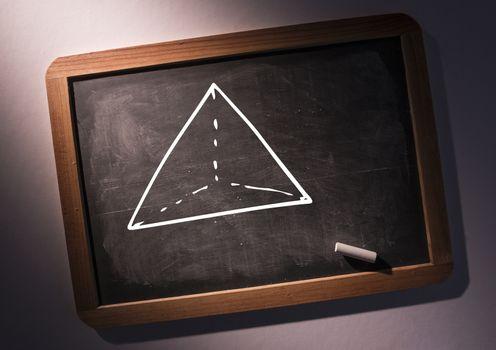 pyramid on blackboard